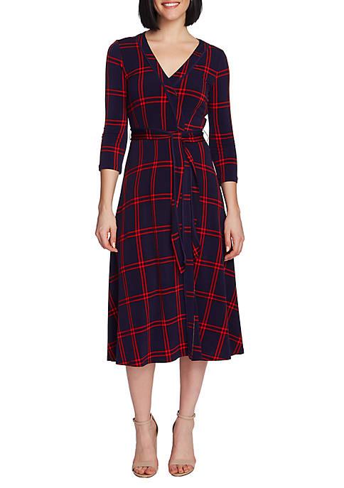 3/4 Sleeve Plaid Wrap Dress