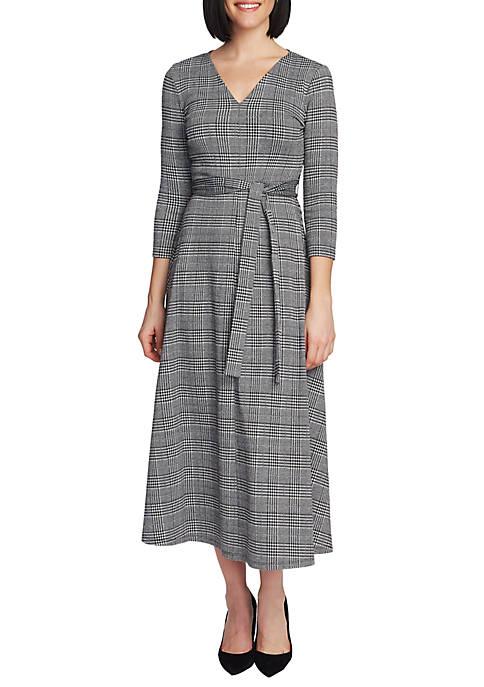 Womens 3/4 Sleeve Plaid Tie Waist Dress