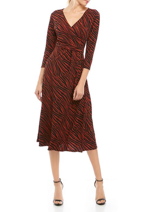 Womens Zebra Ruched Dress