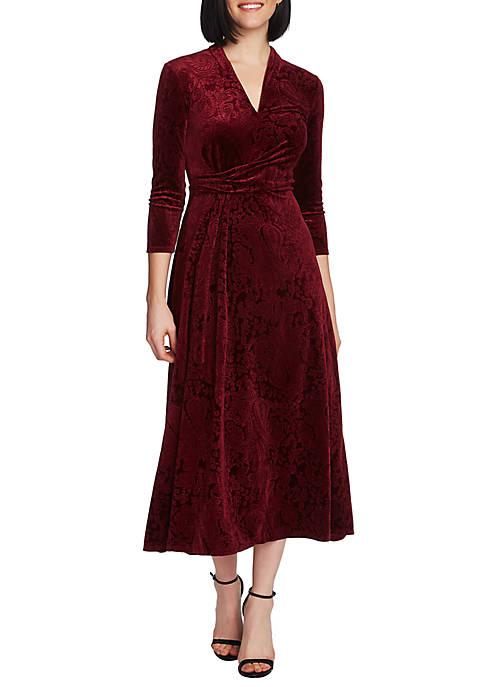 Womens 3/4 Sleeve Paisley Velvet V Neck Dress