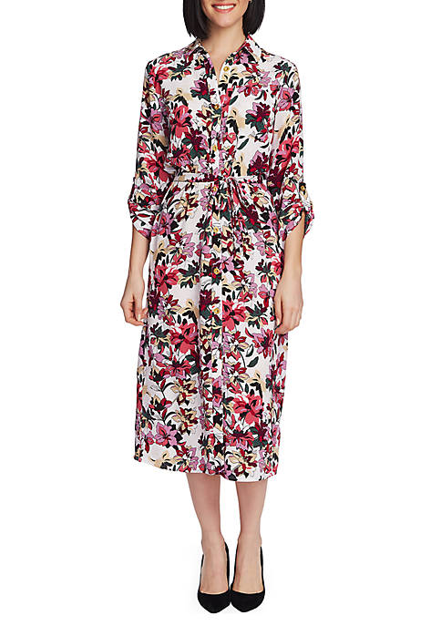 CHAUS Roll Tab Tie Waist Aurora Petals Dress