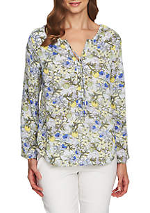 Long Sleeve Floral Skies Split Neck Blouse