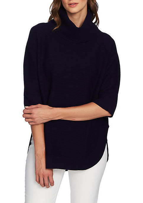 CHAUS 3/4 Sleeve Cowl Neck Sweater