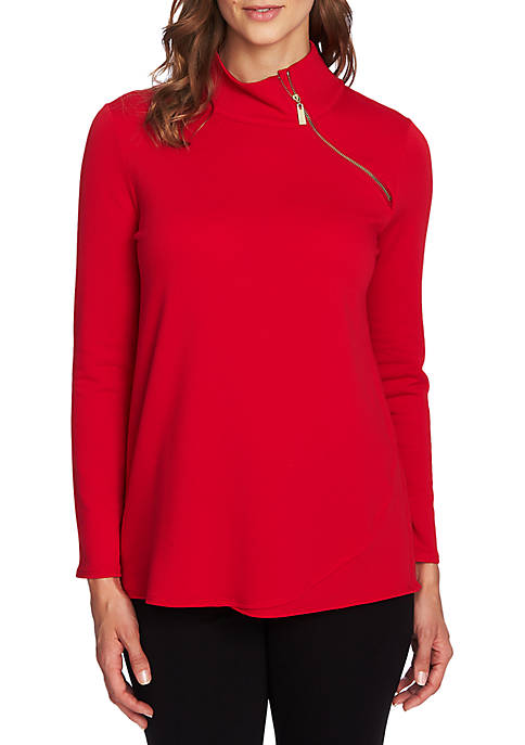 CHAUS Long Sleeve French Terry Zip Pullover