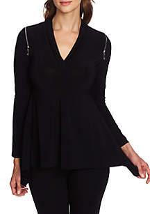 Long Sleeve ZIp Shoulder Top