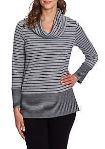 Double Stripe Cowl Neck Top