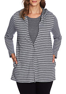 Double Stripe Button Hoodie