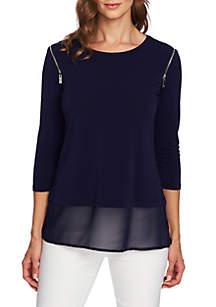 3/4 Sleeve Zip Shoulder Mixed Media Top