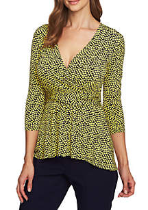 3/4 Sleeve Scattered Tiles Top