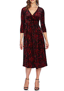 Paisley Velvet Wrap Dress