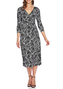 Graphic Maze Wrap Dress
