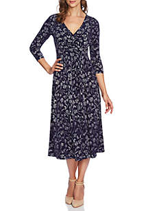 3/4 Sleeve Etched Floral Wrap Dress