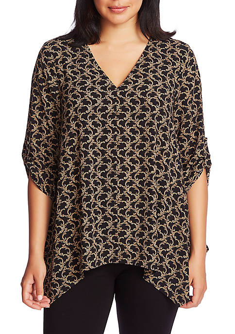CHAUS Womens Roll Tab V-Neck Gilded Scroll Blouse