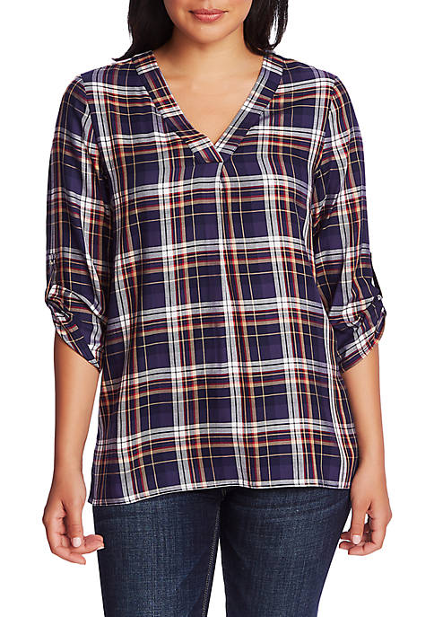 CHAUS Womens Roll Tab V-Neck Plaid Blouse