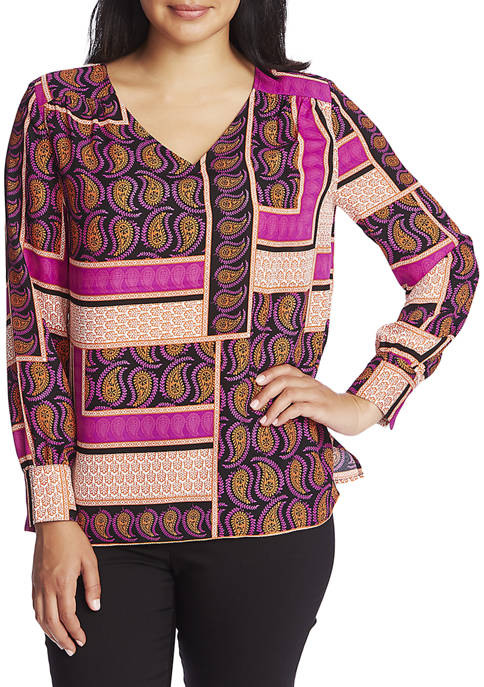 CHAUS Womens Long Sleeve V-Neck Paisley Blouse