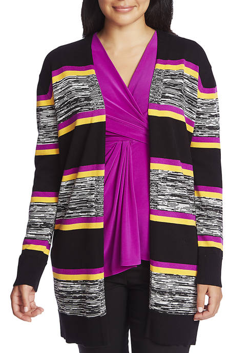 CHAUS Womens Long Sleeve Striped Cardigan