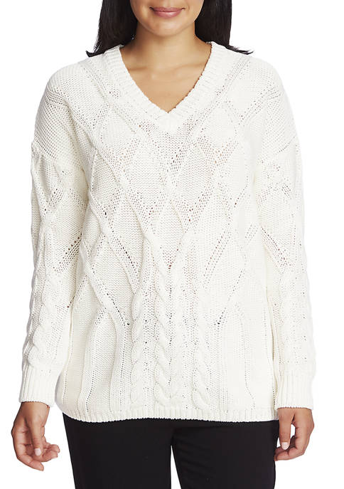 CHAUS Womens Long Sleeve V-Neck Cable Sweater