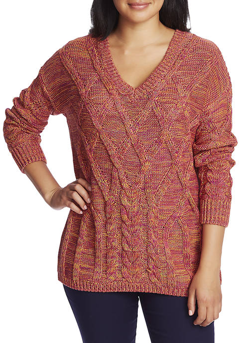 CHAUS Womens Long Sleeve V-Neck Cable Marled Sweater