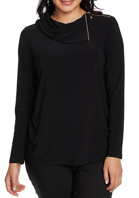 CHAUS Womens Long Sleeve Zip Cowl Neck Top
