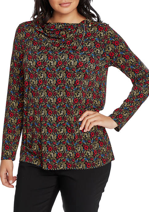 CHAUS Womens Long Sleeve Zip Cowl Venetian Gardens