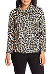 Womens Long Sleeve Leopard Knit Cowl Neck Top