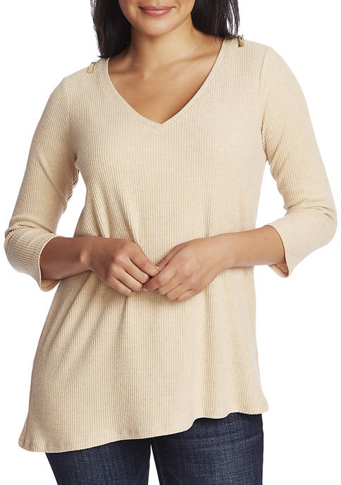 CHAUS Womens 3/4 Sleeve V-Neck Brushed Jersey Top