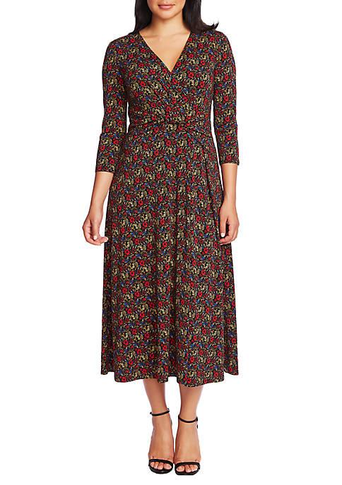 Womens 3/4 Sleeve Venetian Gardens Knot Front Dress