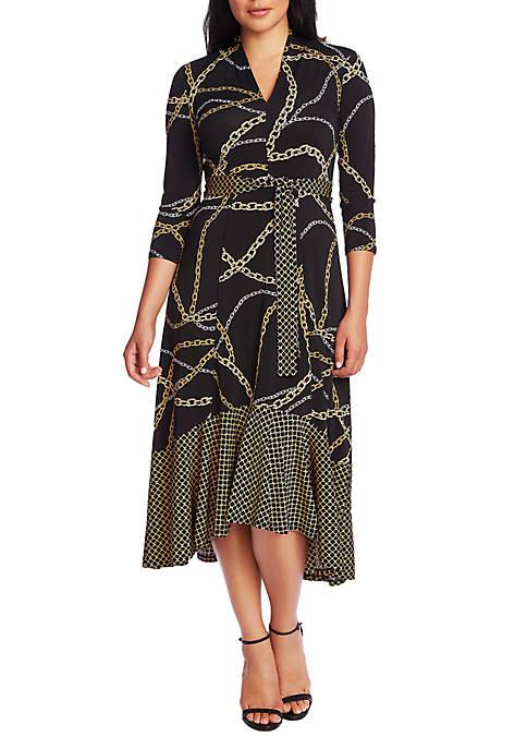 Womens 3/4 Sleeve Tie Waist Chain Print Dress