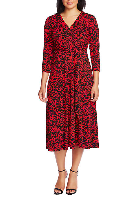 Womens 3/4 Sleeve Animal Print Ruched Dress