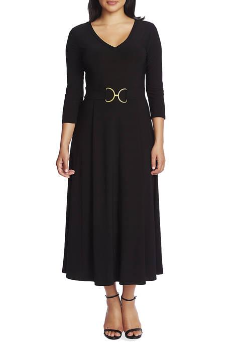 Womens 3/4 Sleeve Belted V-Neck Dress