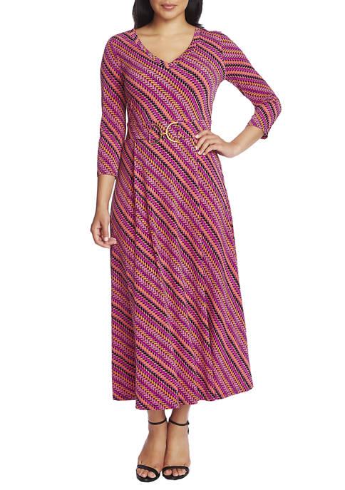 Womens 3/4 Sleeve Vibrant Parquet V-Neck Dress