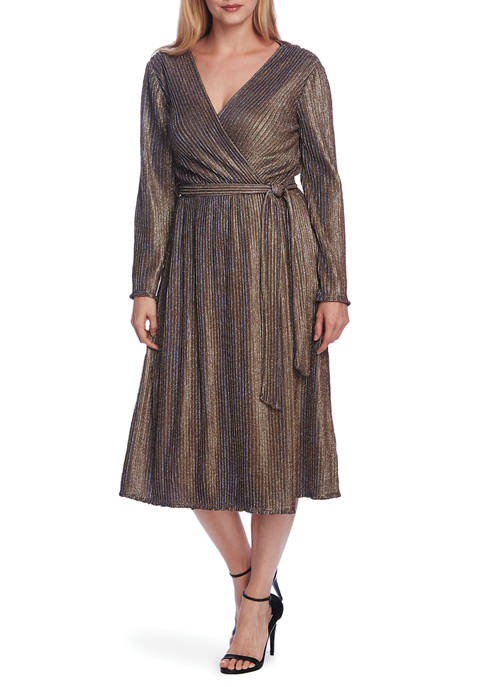 CHAUS Womens Bell Sleeve Rib Sparkle Wrap Dress