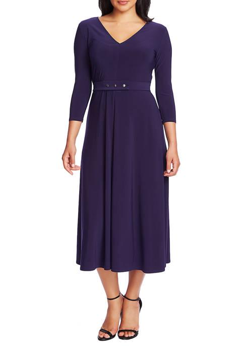 Womens 3/4 Sleeve V-Neck Dress