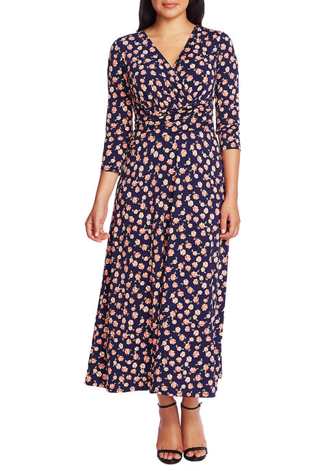 CHAUS Womens Peony Ruched Dress