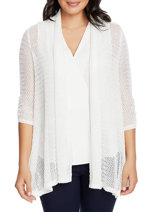 CHAUS Womens 3/4 Sleeve Roll Tab Open Knit