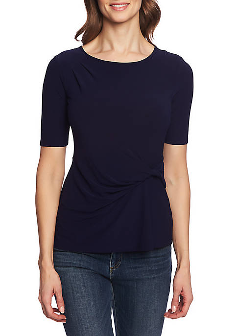 Short Sleeve Side Knit Top