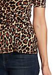 Short Sleeve Knit Animal Print Top