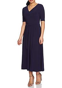Lisa Elbow Sleeve Tie Waist V-Neck Dress