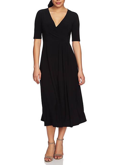 Womens Laura Elbow Sleeve Wrap Dress