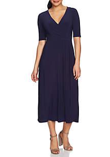 Laura Elbow Sleeve Wrap Dress