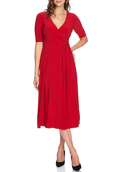 CHAUS Womens Laura Elbow Sleeve Wrap Dress