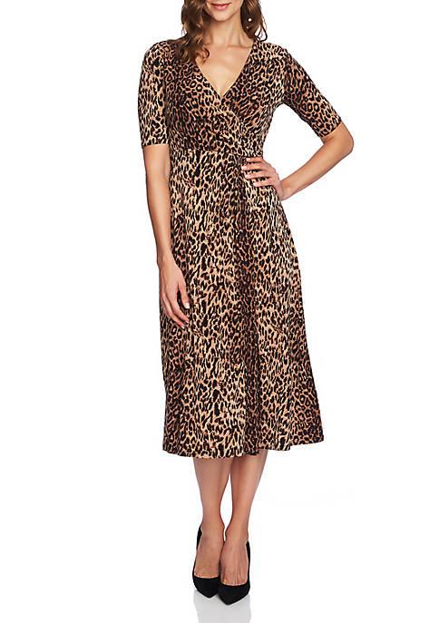 CHAUS Leopard Elbow Sleeve Dress