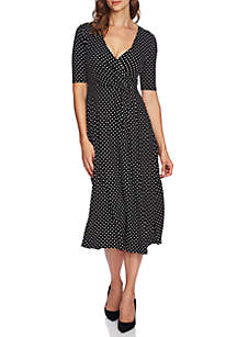 Elbow Sleeve Dot Dress