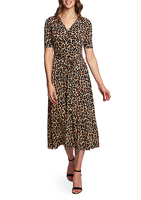 CHAUS Lisa Elbow Sleeve Animal Print A Line