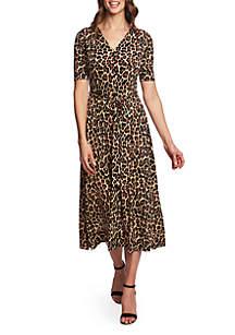 CHAUS Lisa Elbow Sleeve Animal Print A Line Dress