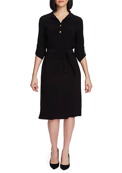 CHAUS Roll Tab Shirtdress