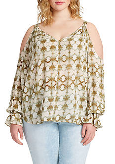 Jessica Simpson Plus Size Lexa Long Sleeve Cold Shoulder Top