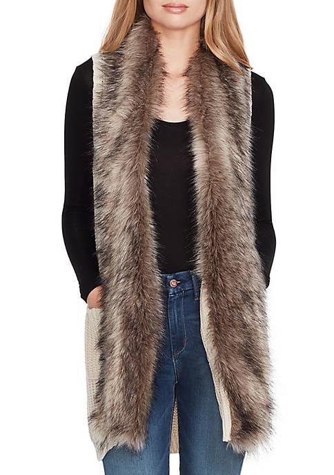 Jessica Simpson Adler Faux Fur Trim Sweater Vest Belk