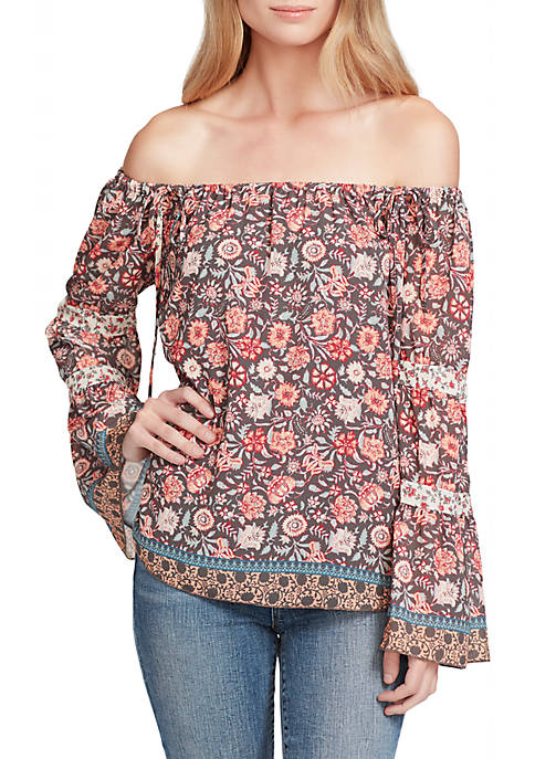 Hot Jessica Simpson Neeru Off-The-Shoulder Printed Woven Top supplier