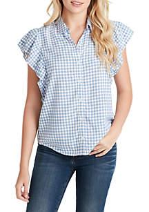 Jessica Simpson Zaylee Ruffle Sleeve Striped Shirt